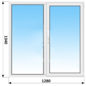 Двухстворчатое пластиковое окно 1280x1340 Г-ПО