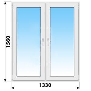 Двухстворчатое пластиковое окно 1330x1560 ПО-П