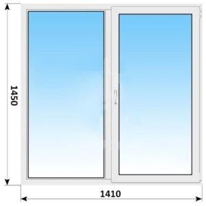 Двухстворчатое пластиковое окно 1410x1450 Г-ПО