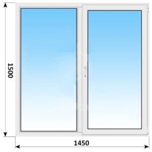 Двухстворчатое пластиковое окно 1450x1500 Г-ПО
