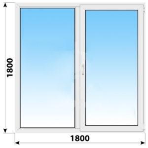 Двухстворчатое пластиковое окно 1800x1800 Г-ПО
