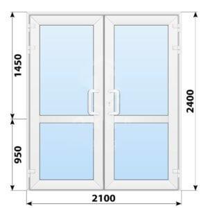 Пластиковая входная двухстворчатая остекленная дверь с импостом 2100x2400