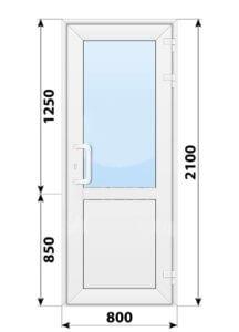 Пластиковая входная одностворчатая дверь со стеклом 800x2100