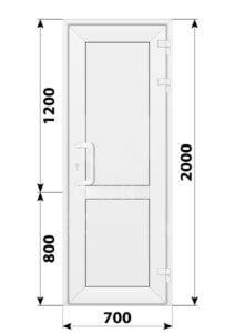 Пластиковая входная одностворчатая глухая дверь 700x2000
