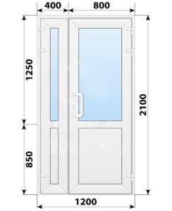 Пластиковая входная полуторная дверь со стеклом 1200x2100