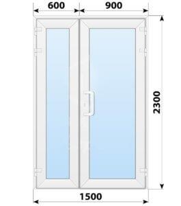 Пластиковая входная полуторная остекленная дверь 1500x2300