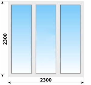 Трехстворчатое пластиковое окно 2300x2300 Г-Г-Г