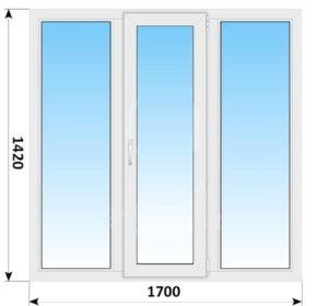 Трехстворчатое пластиковое окно 1700х1420 Г-ПО-Г