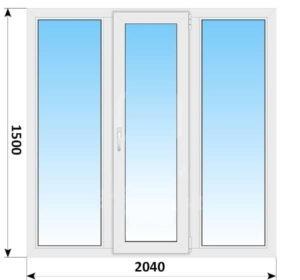 Трехстворчатое пластиковое окно 2040х1500 Г-ПО-Г