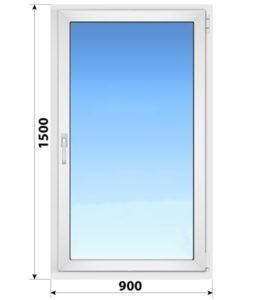 Одностворчатое поворотно-откидное пластиковое окно 900x1500 ПО