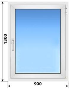 Одностворчатое поворотно-откидное пластиковое окно 900x1300 ПО