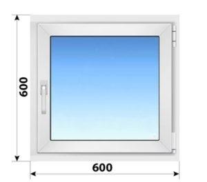 Одностворчатое поворотно-откидное пластиковое окно 600x600
