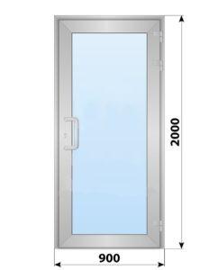 Алюминиевая входная одностворчатая остекленная дверь 900x2000