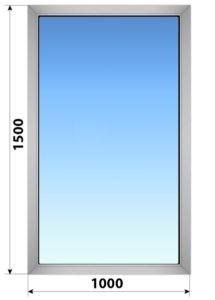 Глухое алюминиевое окно 1000x1500