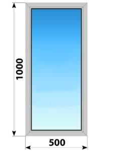 Глухое алюминиевое окно 500x1000