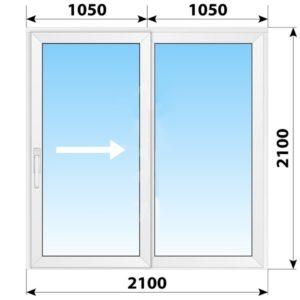 Пластиковая раздвижная дверь 2100x2100 2С