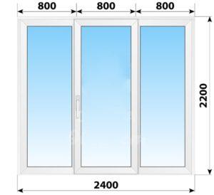 Пластиковая раздвижная дверь 2400x2200 3С