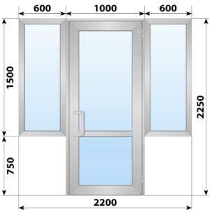 Теплая алюминиевая входная группа 2200x2250