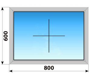 Глухое алюминиевое окно 800x600