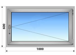 Поворотное алюминиевое окно 1000x600