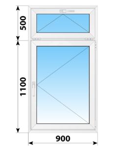Одностворчатое пластиковое окно с откидной фрамугой 900x1600 П